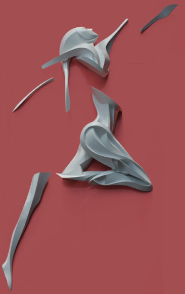 Graffiti sculpture: Dancer, disassembled, 400x250x40c, PVC, 2014