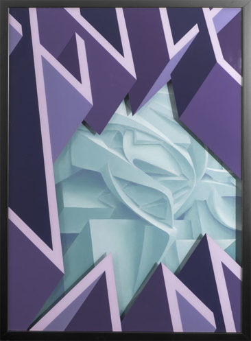 Peeta & Joys, Frost, oil on canvas and spray paint on glass, 50x70 cm, 2017