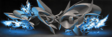 Graffiti canvas: Comet Course, 50x150cm, mixed media on canvas , 2011, SOLD
