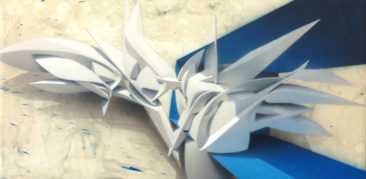 Monday Beam, 50x100 cm, mixed media on canvas, 2014, SOLD