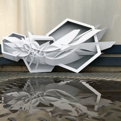 Strike Bee, 65x32 cm, print on shaped aluminum